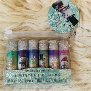 Simple Pleasures 6 Winter Themed Lip Balm Set